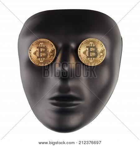 Black face mask with golden bitcoins placed on eyes isolated on white. Anonymity and cryptocurrency concept