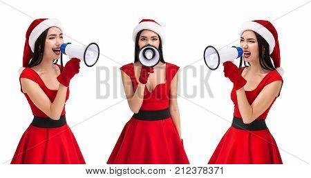 Asian Woman In Santa Costume With Loudspeaker