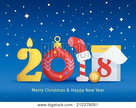 Greeting card with new year and christmas. 2018 Happy new year. Figures in the form of a candle, Christmas ball, Candy Cane, calendar. Background for New Year's advertising and congratulations.