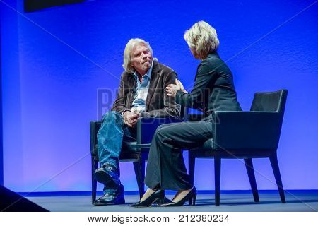 FRANKFURT GERMANY - MAY 17: Richard Branson Founder and President of Virgin Group answering to SAP moderator in his keynote at SAPPHIRE conference of SAP company MAY 17 2010