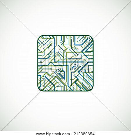 Vector technology cpu design with square microprocessor scheme. Computer circuit board digital element.