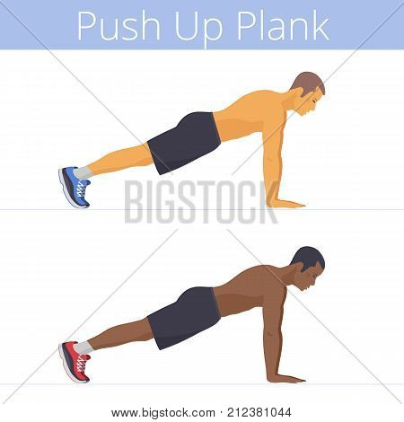 The sporty black and white young men are doing the push up plank exercise. Flat illustration of caucasian and afro-american sporty boys are training in the plank position. Vector active people set.