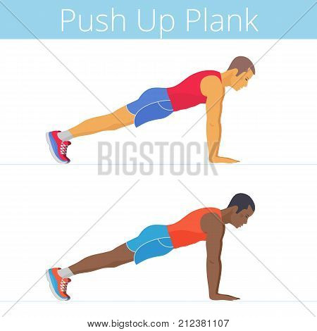 The sporty black and white yoThe sporty black and white young men are doing the push up plank exercise. Flat illustration of caucasian and afroamerican sporty boys are training in the plank posture. Vector active people set.ung men are doing the push up p