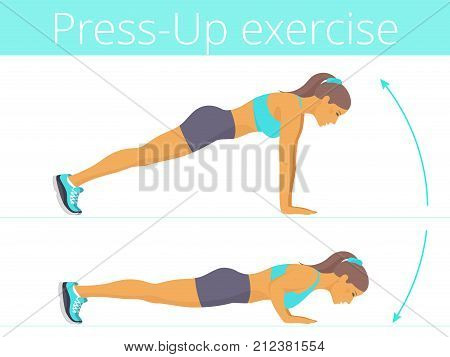 Beautiful young woman in the sportswear is doing the push up exercise. Flat illustration of caucasian sporty girl training in push-up. Vector active people set for sport, fitness design, infographic.