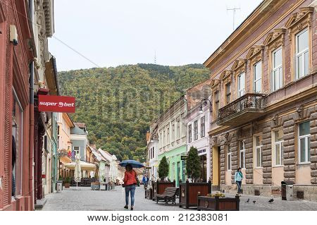 Brasov Romania October 06 2017 : Michael Weiss street in the Old city of Brasov in Romania
