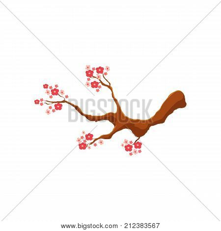 Blossoming pink cherry tree, sakura branch, cartoon style vector illustration isolated on white background. Cartoon style branch of cherry, sakura tree with pink blossoms, symbol of Japanese culture