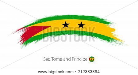 Flag Of Sao Tome And Principe In Rounded Grunge Brush Stroke.
