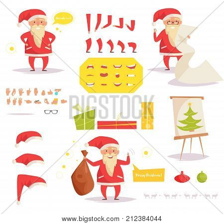 Santa Claus for animation. Creation set. Collection of mouths. Vector. Cartoon. Isolated art on white background. Flat. Different positions of the hands