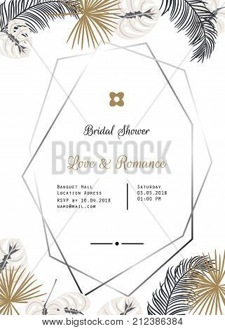 Wedding invitation vector template vector photo bigstock wedding invitation vector template design gold and black palm leaves decor rose gold oval stopboris Images