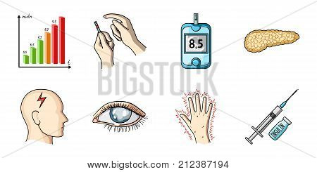 Diabetes icons in set collection for design. Treatment of diabetes vector symbol stock  illustration.