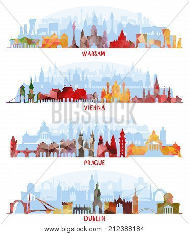 Historic Architecture, Cityscapes, vector illustration. Warsaw, Vienna Prague and Dublin Travel skylines