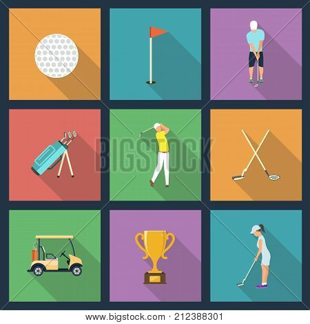 Icons of young people playing Golf. Vector illustration