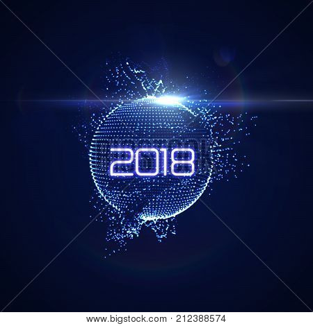 Happy New 2018 Year. Futuristic glowing neon light sphere with bursting light rays. Vector holiday illustration. Festive New Year 2018 party sign. Decoration element for design