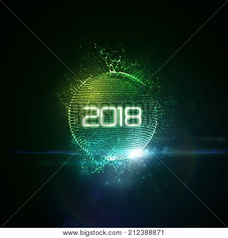 Happy New 2018 Year. Vector holiday illustration of green glowing neon 2018 sign with shiny abstract sphere, luminous splashes and optical light effect with particles