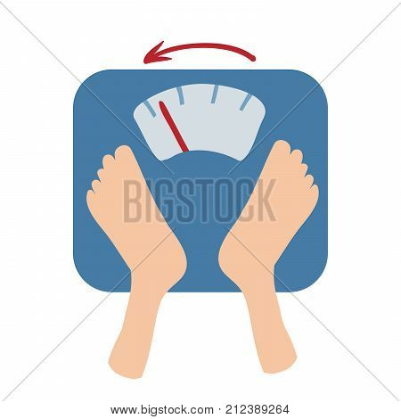 Scales detect weight loss by number and an arrow. Scales and feet. Isolated flat illustration on white backgroud. Cartoon vector image.