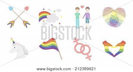Gay and lesbian icons in set collection for design.Sexual minority and attributes vector symbol stock  illustration.