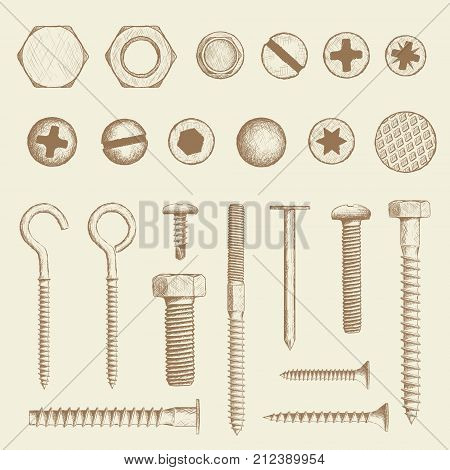 Set of industrial fasteners. Bolt screws and nail in hand drawn style. Stock Vector sketch illustration.