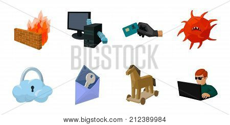 Hacker and hacking icons in set collection for design. Hacker and equipment vector symbol stock  illustration.