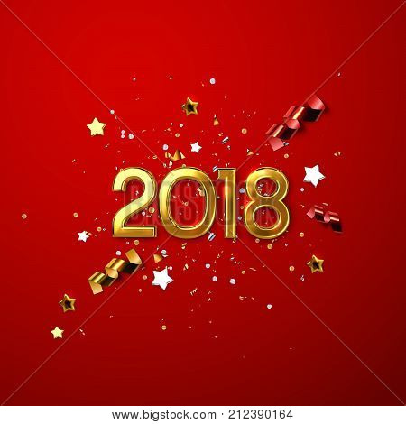 Realistic 2018 golden numbers and festive confetti, stars and spiral ribbons on red background. Vector holiday illustration. Happy New 2018 Year. New year ornament. Decoration element with tinsel
