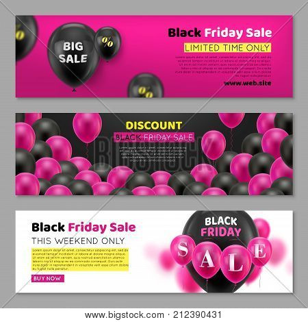 Black Friday cards with balloon. Three invitations for great seasonal sale, horizontal. Black air gasbag with percentage sign on ticket. Advertising banner on pink, black and white background