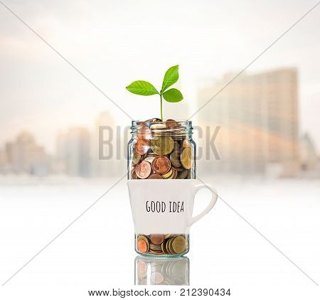 Gold coins and seed in clear bottle over the glass with text good idea on photo blurred cityscape background Business investment growth concept, 3D illustration
