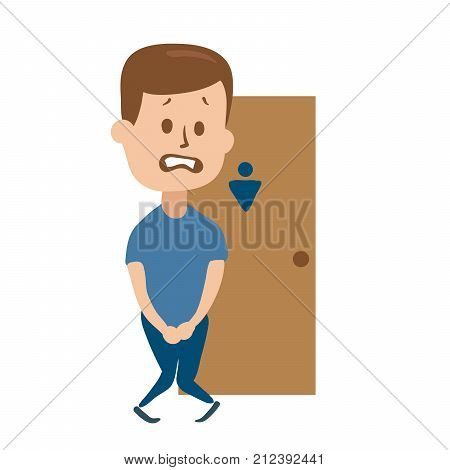 Stressed guy wanting to pee stands in front of a WC door. Isolated flat illustration on white backgroud. Cartoon vector image.