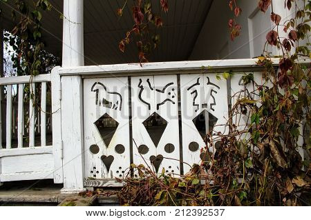 Wooden patterns on the porch of the house of Count Leo Tolstoy's estate in Yasnaya Polyana.