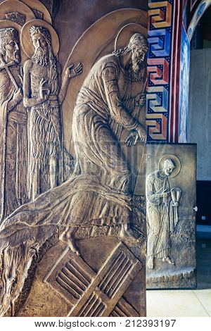 Carved door of Orthodox cathedral of St Jovan Vladimir in Bar city Montenegro
