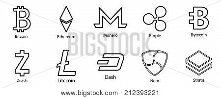 Cryptocurrency icons set for internet money. Symbols for using in web projects or mobile applications. Blockchain based secure. Isolated vector sign.