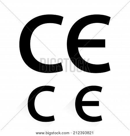 CE mark on white background with shadow