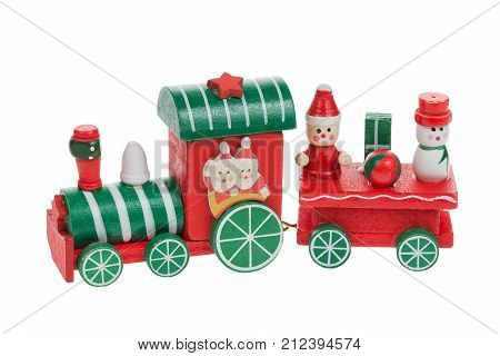 Christmas train and snowman with santa and friends isolated on white background. Christmas decoration.