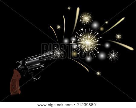 Revolver and party fireworks on black background