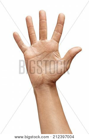 Man's hand showing five fingers isolated on white background. Sign - number five. Close up. High resolution product