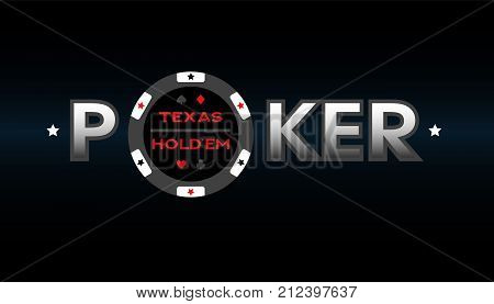 Texas Holdem Poker, vector illustration on a dark background.