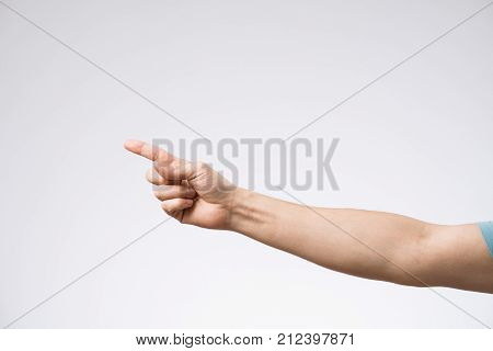 Male Hand On White