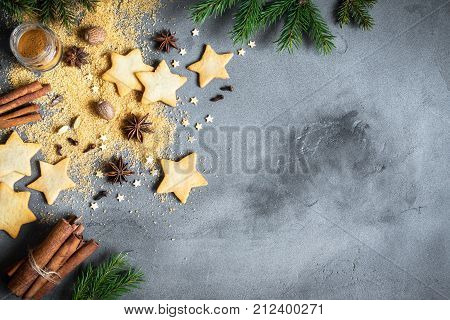 Christmas Background With Spices And Cookies