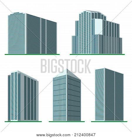 Set of five modern high-rise building on a white background. View of the building from the bottom. Isometric vector illustration.