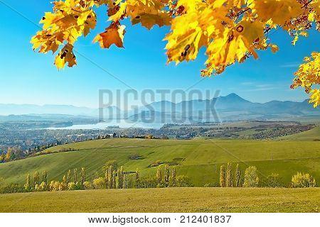 Haj - Nicovo, beautiful autumn scenery overlooking the part of Liptovsky Mikulas with the backdrop of Liptovska Mara dam and Choc Mountain. Autumn theme. Beautiful Slovakia.
