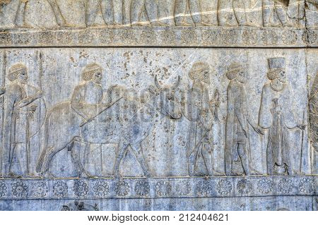 Bas-relief on the wall in Persepolis ancient capital of Achaemenid Persia Iran.
