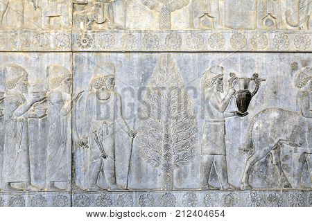 Ancient Persians carry presents to the emperor bas-relief on the wall in Persepolis Iran.