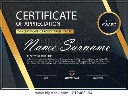 Elegance horizontal certificate with Vector illustration white frame certificate template with clean and modern pattern presentation