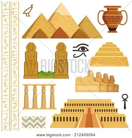 Architectural landmark of egypt. Different historical objects and symbols. Monument landmark and architecture egypt. Vector illustration