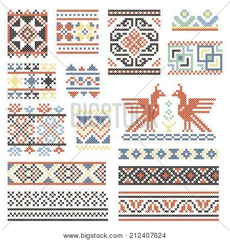 Illustrations of traditional russian culture. Geometrical ornament in ethnic style. Ornament russian geometric textile vector collection