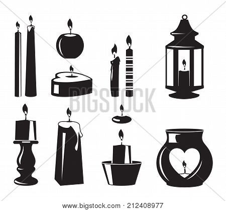 Monochrome vector symbols of candles for birthday party. Candle christmas and birthday, wax and wick silhouette illustration