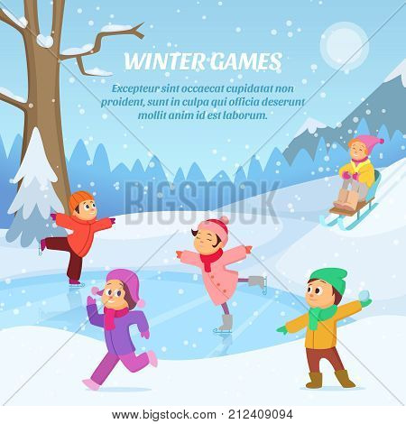 Kids playing in winter games on playground. Outdoors cartoon illustration. Game on winter playground, girl boy outdoor play snow vector