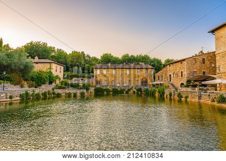 View Of The Medieval Thermal Baths In Bagno Vignoni A Small Village In Val'd'orcia.