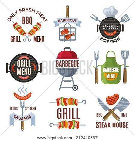 Colored labels set for bbq party. Grilled food barbecue steak, bbq menu sign, vector illustration