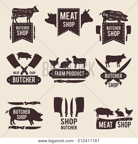 Design of monochrome labels set for butcher shop with illustrations of domestic animals and kitchen tools. Animal farm shop butcher, label vintage market