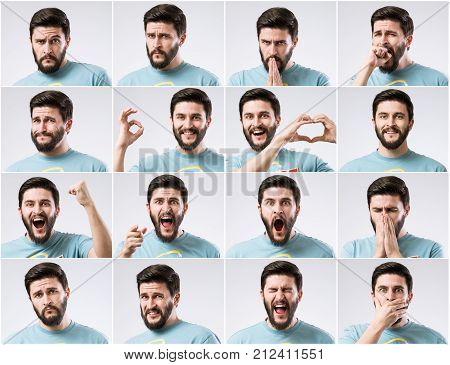 Emotions faces set of young handsome bearded man. Emotions palette