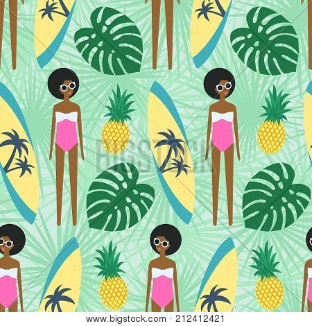 Cute african american girl with surfboard, pineapple and palm leave seamless pattern. Summer illustration with cute girl in swimsuit. Fashion design for textile, wallpaper, fabric, decor.